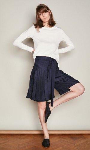 Asymmetric Navy Wrap Culottes