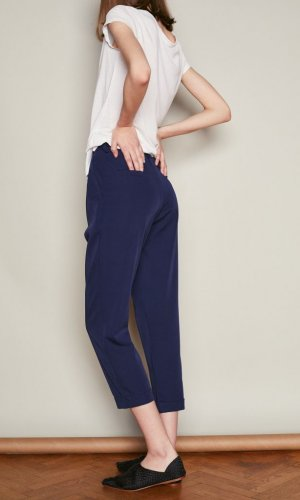Navy Pleated High Waist Trousers