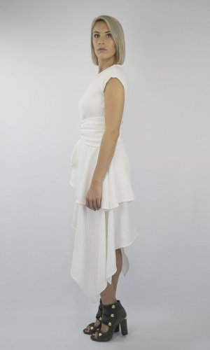 Ava White Asymmetrical Wrap Dress