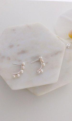 Katherine Long Pearl Hoop Earrings