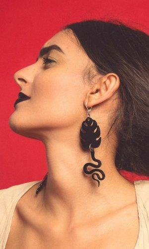 Black Cobras Statement Earring