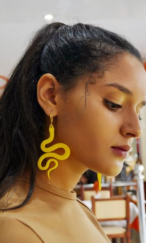 Yellow Serpent Statement Earring