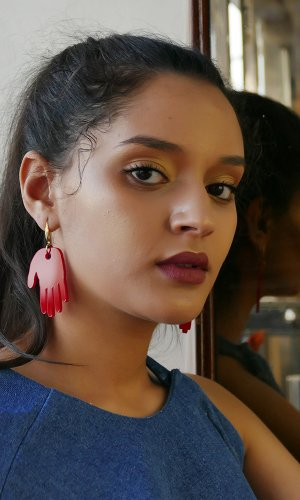 Red Hand Statement Earring