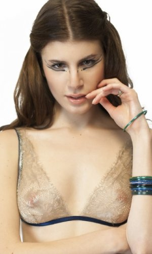 Triangle lace bra on model