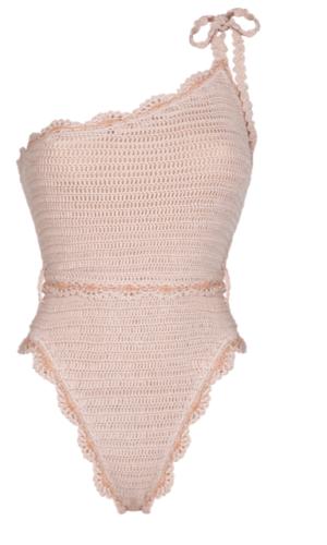 Pearl Crochet One Piece Beige