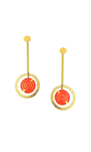 Orange Round Maze Earrings