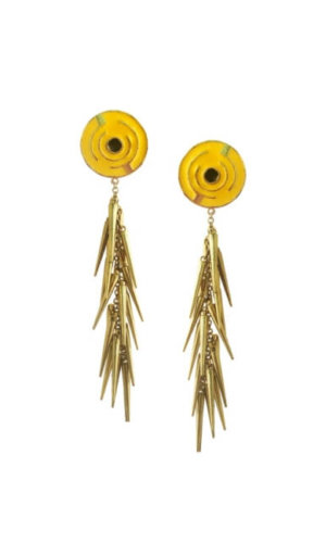 Yellow Cluster Spike Earrings