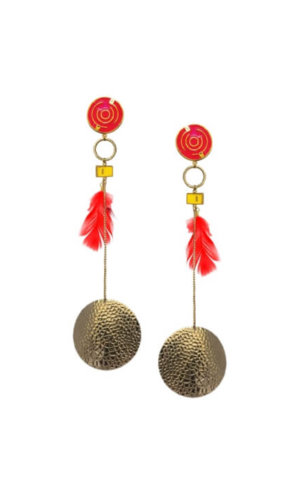 Feather Disc Long Earrings