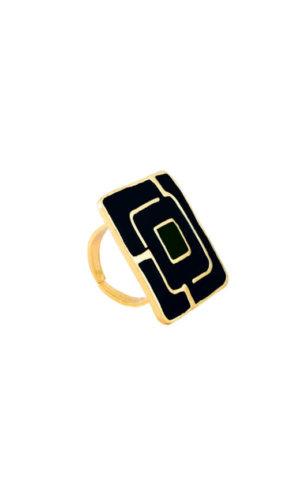 Black Square Maze Ring