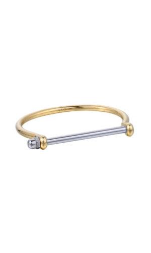 Gold Silver Crystal Screw Cuff