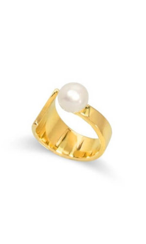 Floating Pearl Gold Ring