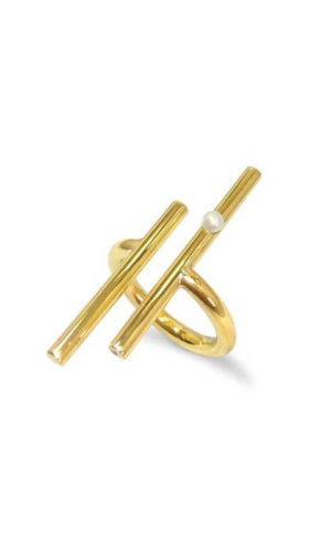 Gold Rail Pearl Ring