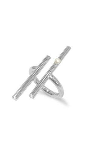 Silver Rail Pearl Ring