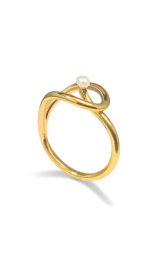 Twisted Gold Pearl Ring