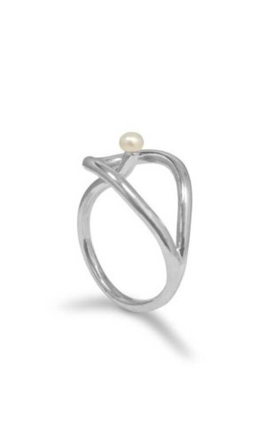 Twisted Silver Pearl Ring