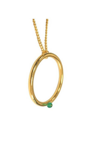 Agate Gold Hoop Necklace