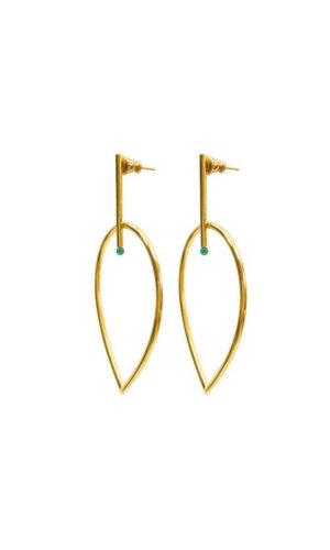 Flame Agate Gold Earrings