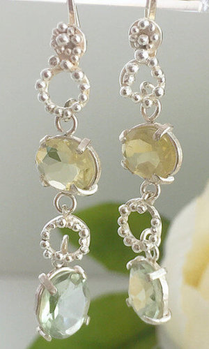Amethyst and Lemon Topaz Drop Earrings