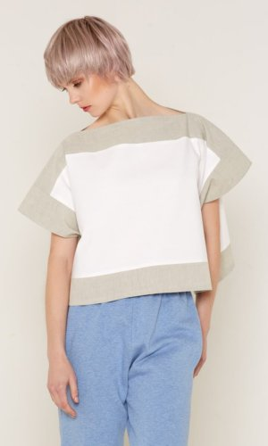 Luna Top (White and Beige