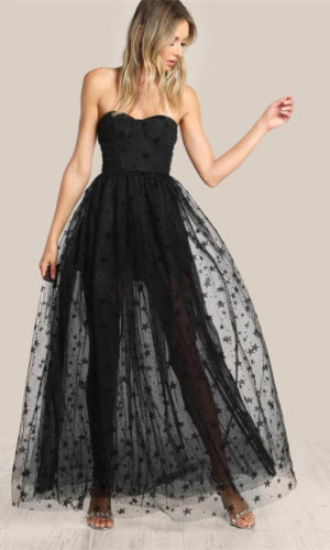Mesh Overlay Strapless Sheer Cut Out Dress