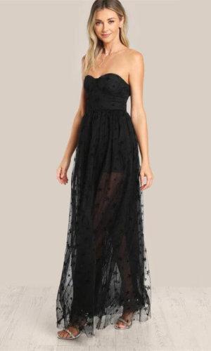 Mesh overlay strapless sheer cut out dress,