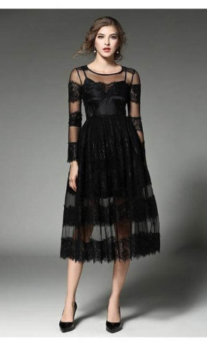 Sweet Lace Hollow Out Long Sleeve O Neck Mid-calf Party Dress