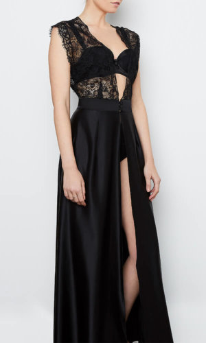 Abbie Black Silk Robe