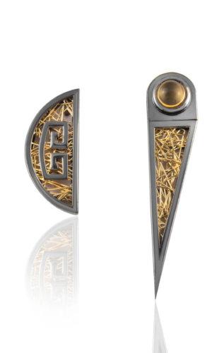 Zenais Mono 18K Gold, 925 Silver Earring