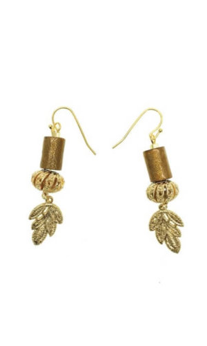 Natural Golden Coral With Leaf Filling Earrings