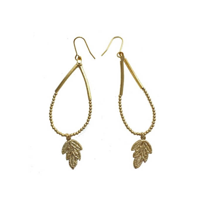 Gold Plated Brass Leaf Earrings