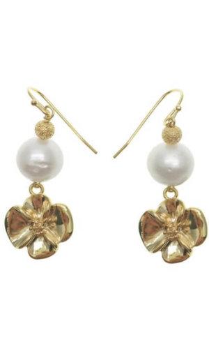 Freshwater Pearls Floral Blossom Dangle Earrings