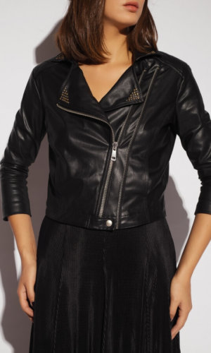 Vegan Leather Studded Biker Jacket