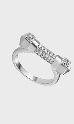 Pave White Gold D Ring