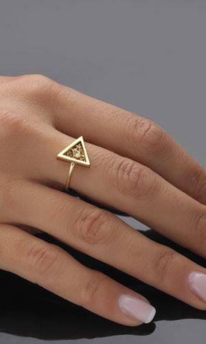 Athena Gold Triangular Ring