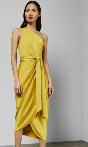GABIE One shoulder drape midi dress